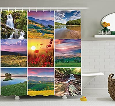 Ambesonne Decor CollectionShower Curtain Set with Hooks