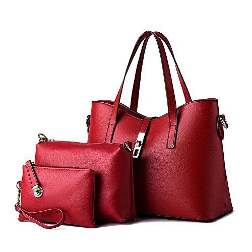 Van'an Womens 3 In 1 PU Leather Buckle Sling Vintage Zipper Tote Bags Cute Top Handle Handbag(Red)