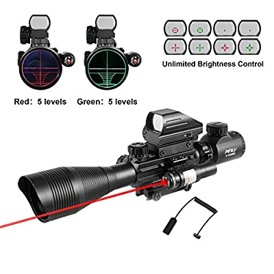 Pinty AR15 Rifle Scope 4-12x50EG Rangefinder Mil Dot Tactical Reticle Scope with Laser Sight and Red Dot Sight by Pinty