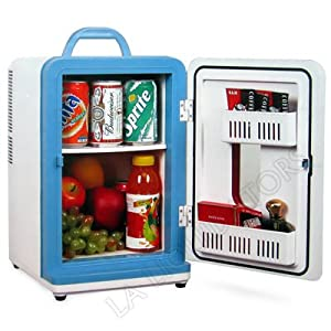 12 Liter AC/DC Portable Mini Fridge Cooler Warmer Holds 4 Wine Bottles or 15 Cans of Soda (White)