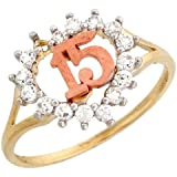 10k Two-tone Gold Pretty Heart Shaped White CZ 15 Quinceanera Ring