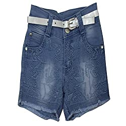 Titrit stretchable denim girls shorts