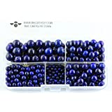 BRCbeads Blue Lapis Lazuli Natural Gemstone Loose Beads Round Value Box Set 340pcs Per Box for Jewelry Making (Plastic Container is Included)-4,6,8,10mm (Color: Blue Lapis, Tamaño: 4mm;6mm;8mm;10mm)