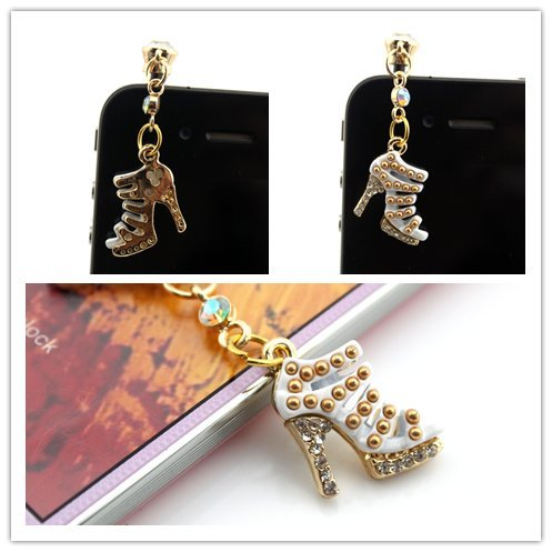 Nine States Crystal Bling Rhinestone Elegant Wedge Shoe High-Heel 3.5Mm Headphone Jack Anti Dust Plug Ear Cap For Iphone 5 5S 5C Iphone4,4S,Ipad ,Ipod Touch ,Samsung Galaxy S3 S4 Note 3 Note2,Blackberry And Other Cellphone White