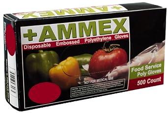 Ammex PGLOVE-500 Food Service Poly Glove, Latex Free, Disposable, Powder Free, Medium (Box of 500)