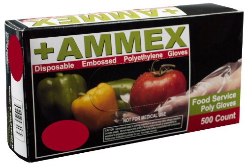 Ammex PGLOVE-500 Food Service Poly Glove, Latex Free, Disposable, 1 mil Thickness, Powder Free, Small, PGLOVE-S-500-BX (Box of 500) (Food Service Gloves Latex Free compare prices)