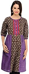 Aana Purple and Brown Aana Hand Block Print Kurta-Medium