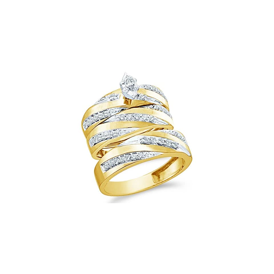 """10k White and Yellow 2 Two Tone Gold Mens and Ladies Couple His & Hers Trio 3 Three Ring Bridal Matching Engagement Wedding Ring Band Set   Marquise and Round Diamonds   Solitaire Center Setting (.77 cttw)   SEE """"PRODUCT DESCRIPTION"""" TO CHOOS"""