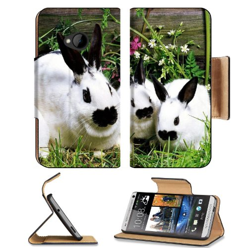 Rabbit Baby Cotton Tail Garden Pets Htc One M7 Flip Cover Case With Card Holder Customized Made To Order Support Ready Premium Deluxe Pu Leather 5 11/16 Inch (145Mm) X 2 15/16 Inch (75Mm) X 9/16 Inch (14Mm) Liil Htc One Professional Cases Accessories Open front-50781