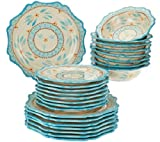 Temp-tations Old World 24-piece Dinnerware Service for 8, Teal