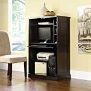 Sauder Computer Desk Armoire - Cinnamon Cherry Finish
