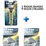 Mach 3- Nine Blade Razor Shaving System- Value Pack (9 Cartridges + 1 Handle)