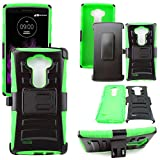 Mstechcorp - Defender Rugged Impact Armor Hybrid Kickstand Cover with Belt Clip Holster Case For LG G Vista VS880 (Verizon / AT&T) - Includes [Wall Charger Data Cable] + [Car Charger Data Cable] + [Touch Screen Stylus] + [2 Data Cables] + [Hands Free Earphone] (H GREEN)
