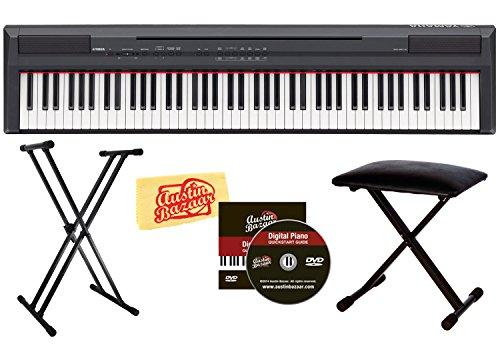 Yamaha P105B 88-Key Digital Piano Bundle With Bench, Stand, And Polishing Cloth