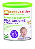Happy Bellies Organic Baby Cereal with DHA, Choline & Probiotics, Brown Rice, 7-Ounce Canisters (Pack of 6)