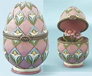 Jim Shore - Heartwood Creek - Hinged Egg Box with Flowers by Enesco - 4013314