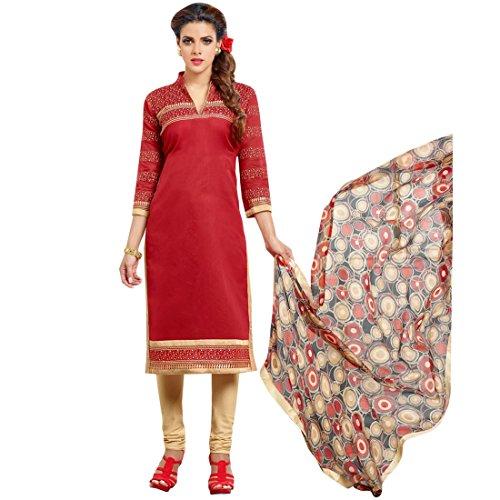 C&H Red Designer Semi-Stitched Salwar Suits