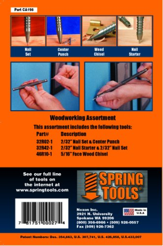 SpringTools CA198 3 Piece Woodworking Set with Nail Starter, Nail Set, Wood Chisel, Center Punch (Spring Tools compare prices)