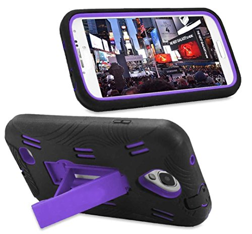 Mylife Black + Purple Shockproof Survivor (Built In Kickstand) Case For The Samsung Galaxy S4, I9500, I9505, Sph-L720, Galaxy S Iv, Sgh-I337, Sch-I545, Sgh-M919, Sch-R970 And Galaxy S4 Lte-A Touch Phone (Dual Layer Thick External Silicone Bumper Gel + Har