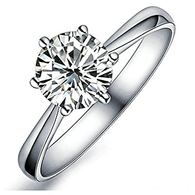 Yoursfs Classic Round Solitaire Ring 925 Silver Plated 1ct Simulated Diamond Center For Matching Wedding Bands