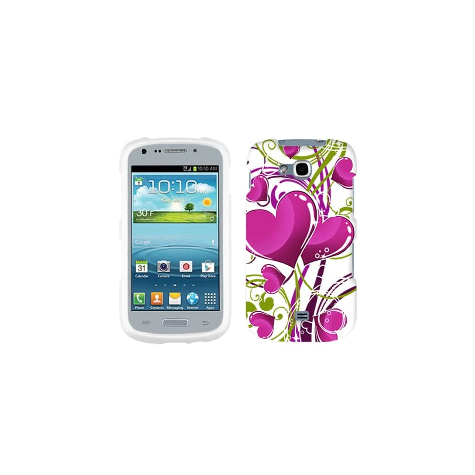 Samsung Galaxy Axiom Hot Pink Hearts on White Hard Case Phone Cover
