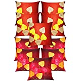 Heart Felt Patch Cushion Covers Combo Rust & Maroon 40 X 40 Cms(10 Pcs Set)