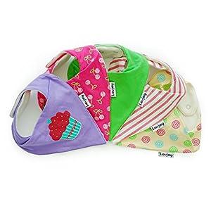 Lovjoy Baberos del bebé - Paquete de 5 Diseños para niña marca Lovjoy
