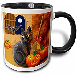 3dRose The Witchs Cat Sits Near A C ozy Fireplace Entertaining Her Batty Friend on Halloween Night Two Tone Black Mug, 11 oz, Black/White