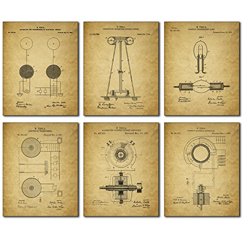 Tesla Patent Wall Art Prints - Set of Six Vintage 8x10 Photos (Engineer Wall Art compare prices)