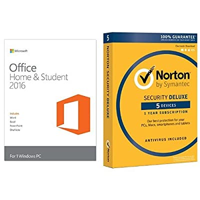 Microsoft Office Home and Student 2016 PC Key Card w/ Norton Security Standard for 5 Devices