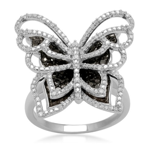 Sterling Silver Black and White Diamond Butterfly Ring (1/3 cttw, I-J Color, I2-I3 Clarity), Size 8