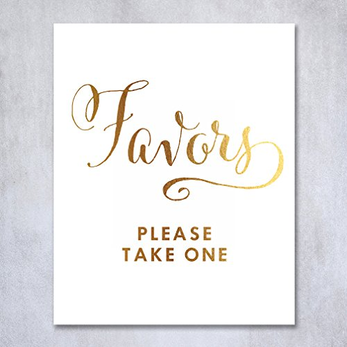 Wedding Favors Gold Foil Sign Print Table Wedding Reception Signage Poster Decor Calligraphy Bride Groom Please Take One