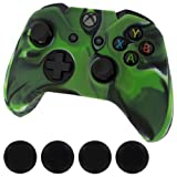 Silicone Skin Protective Cover for XBOX One Controller [Camouflage Green + Black Caps]