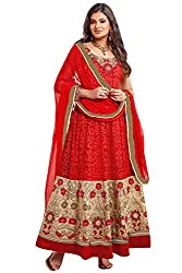Amyra Women's Brasso Dress Material (AC579-02, Red)