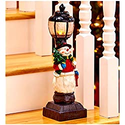 "Christmas Decorations Battery Operated Light Lamp Post Indoor Decor - 15-1/4"" Snowman"