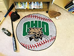 "Ohio Bobcats 29"" Round Baseball Floor Mat (Rug)"