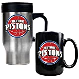 Detroit Pistons NBA Stainless Steel Travel Mug & Black Ceramic Mug Set - Primary Logo