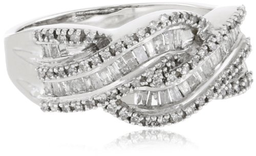 10k White Gold Diamond Twist Ring (1/2 cttw,