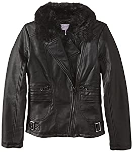 Jessica Simpson Big Girls'  Faux Leather Jacket with Faux Fur Collar, Black, 10/12