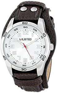 UNLISTED WATCHES Men's UL1255 City Streets Silver Case and Dial Brown Biker Strap Watch