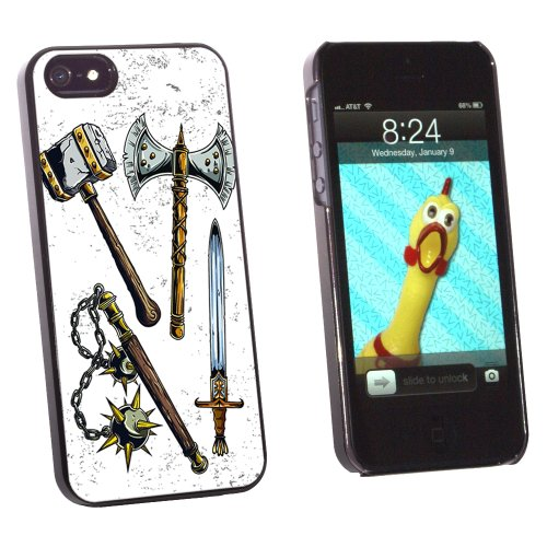 Fantasy Medieval Weapons - Axe Sword Mace War Hammer - Snap On Hard Protective Case for Apple iPhone 5 5S - Black