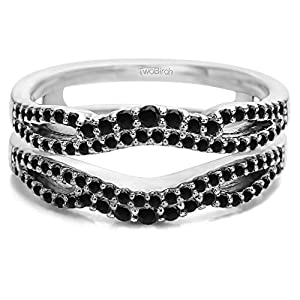 Black Cubic Zirconia Double Infinity Wedding Ring Guard Enhancer in 10k White Gold (0.49 CTS Black Cubic Zirconia)