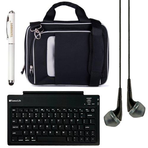 "Pinn Messenger Bag For Hannspree T7 Series 10.1"" Tablet + Bluetooth Keyboard + Vg Stylus Pen + Black Vangoddy Headphones (Black)"