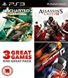 Uncharted - Drakes Fortune, Assassin's Creed 2 - Game of Year Edition & Need For Speed - Hot Pursuit (3 Great Games in One Pack)