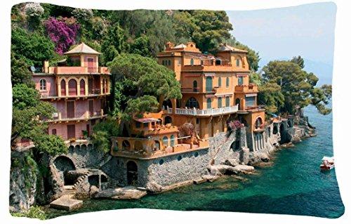Microfiber Peach Queen Size Decorative Pillowcase -City Forest Boat Villa Images Sea Mountain front-904370