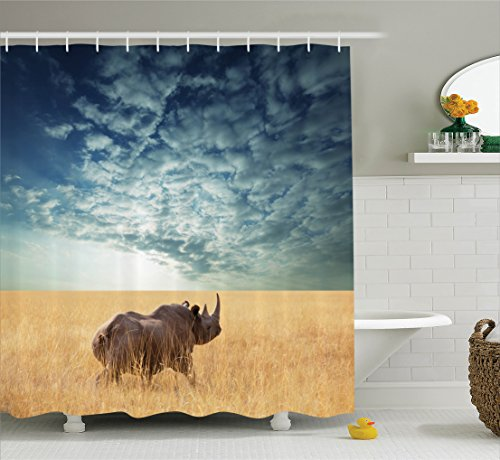 Ambesonne Safari Decor Collection, Rhino Rhinoceros Sun Shining Through Cloudy Sky Grassland Autumn View, Polyester Fabric Bathroom Shower Curtain Set with Hooks, Blue Ivory