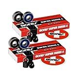 2 Sets of BONES SUPER SWISS 6 BALL SKATEBOARD BEARINGS, Longboard, Inline Hockey by Bones