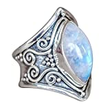 Napoo Clearance 1PC Boho Jewelry Silver Natural Gemstone Marquise Moonstone Personalized Ring