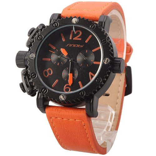 Sinobi Sport Army Quart Watch For Men With 3 Small Decoration Dials - Orange