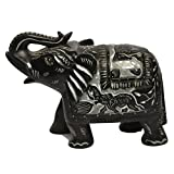 Artist Haat Natural Black Stone Elephant Sculpture Hand Carved.b - B00Y3NLEP0